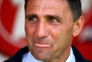 Messina's trainer Bruno Giordano reacts