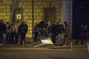 Clashes between police and supporters of Feyenoord in the centre of Rome