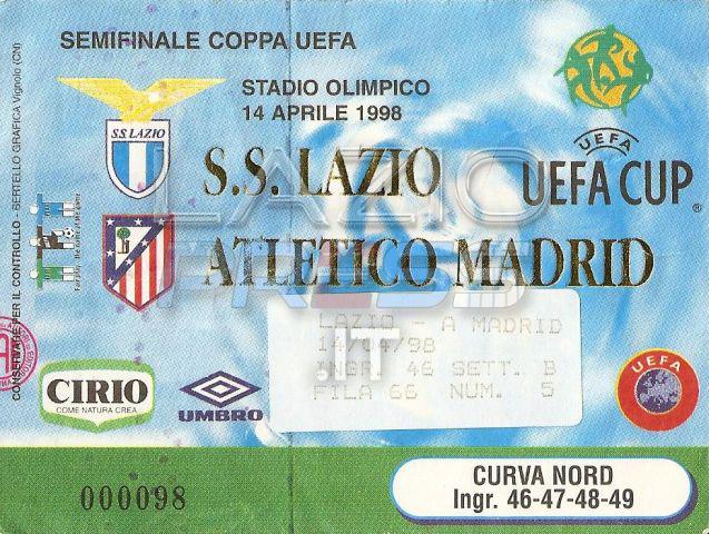 14 Aprile 1998 - Coppa Uefa - Lazio-Atletico Madrid