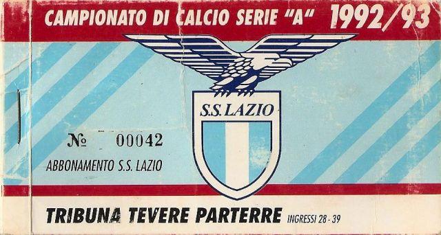 1992-93 - Campionato Serie A - Tribuna Tevere Parterre - (Fronte)