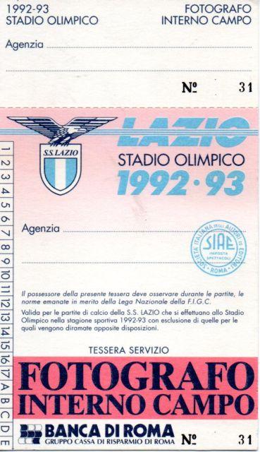 1992-93 - Tessera Fotogarfo Campo
