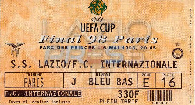 6 Maggio 1998 - Finale Coppa Uefa - Lazio-Inter - Biglietto