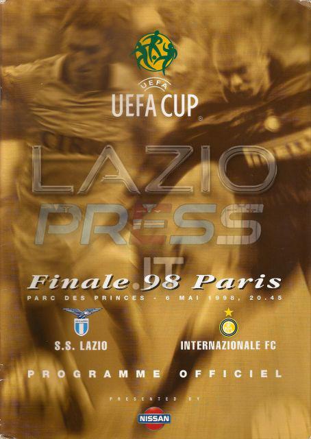 6 Maggio 1998 - Finale Coppa Uefa - Lazio-Inter - Programma