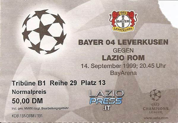 Biglietto - 14 Settembre 1999 - Uefa Champions League - Bayer Leverkusen-Lazio