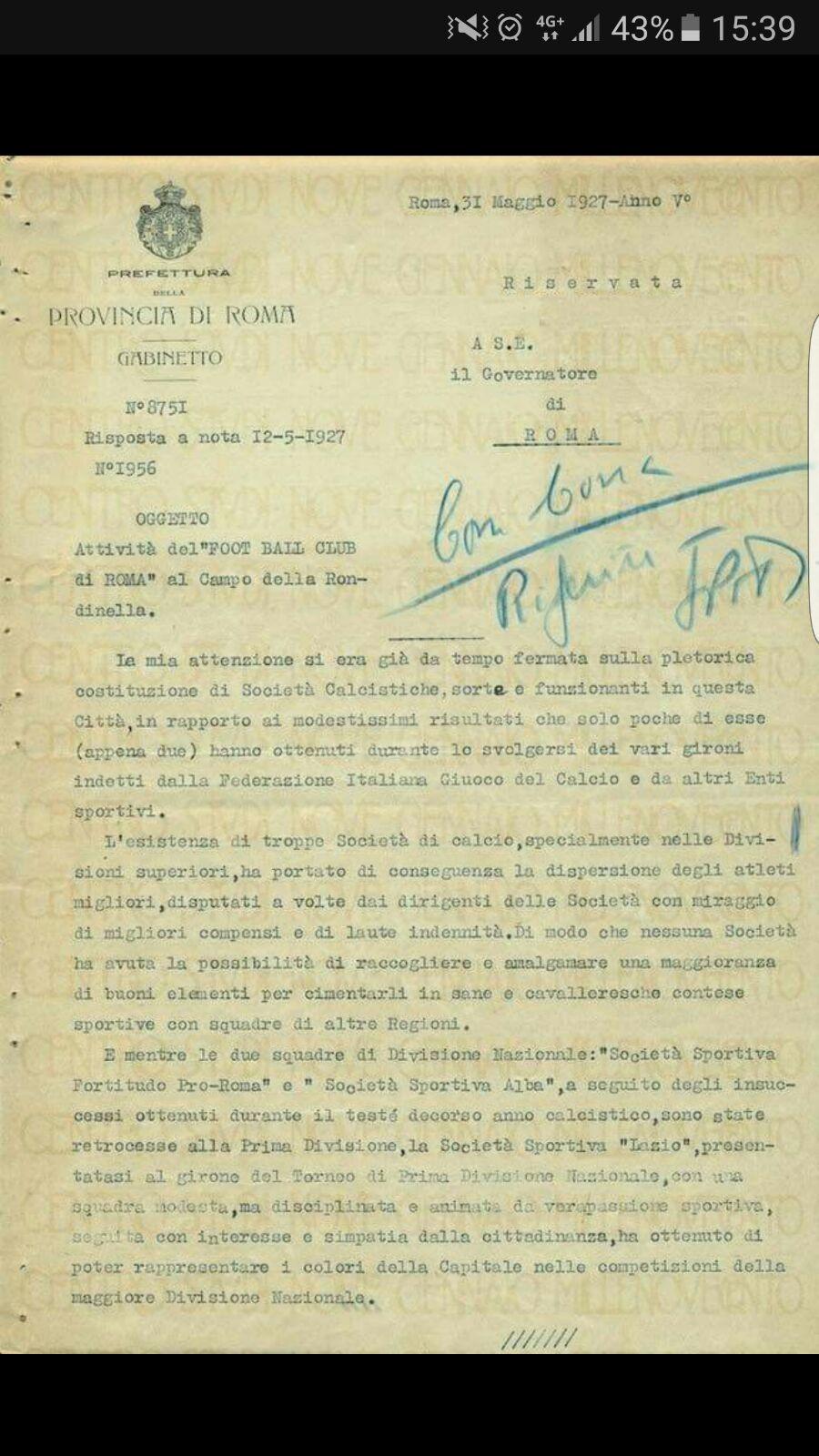 roma serie b documento prefetto