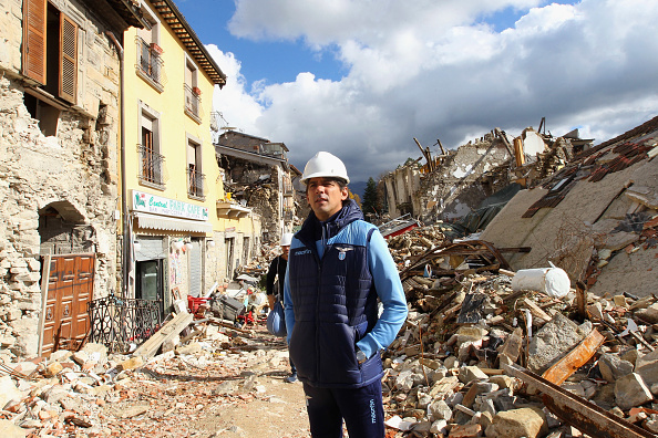 <> on October 19, 2016 in Amatrice near Rieti, Italy.