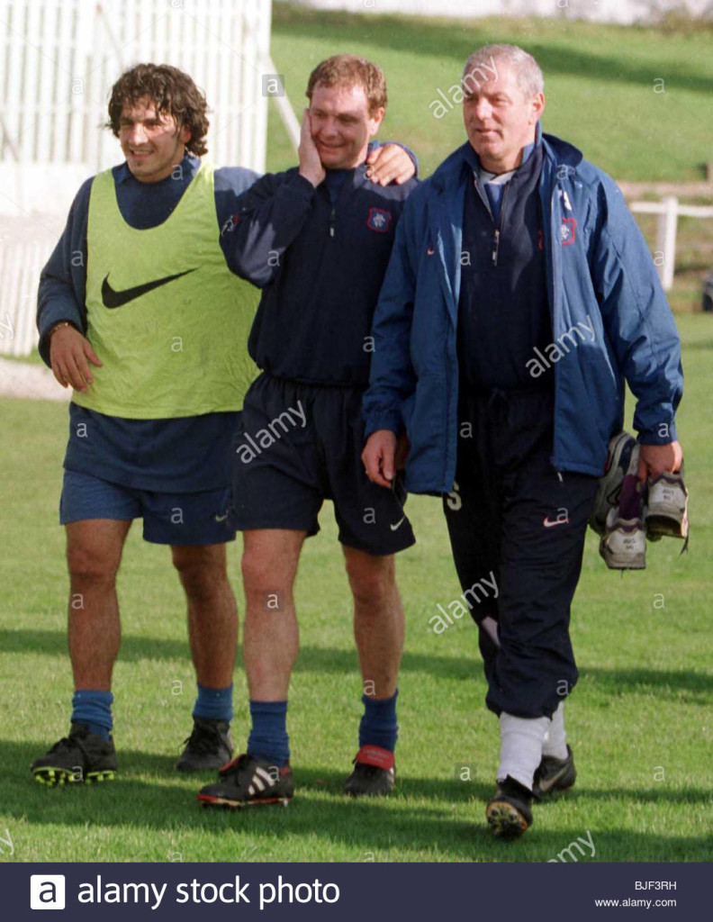SEASON 1997/1998 RANGERS TRAINING Rino Gattuso (left) leaves the training field with Paul Gascoigne and manager Walter Smith.