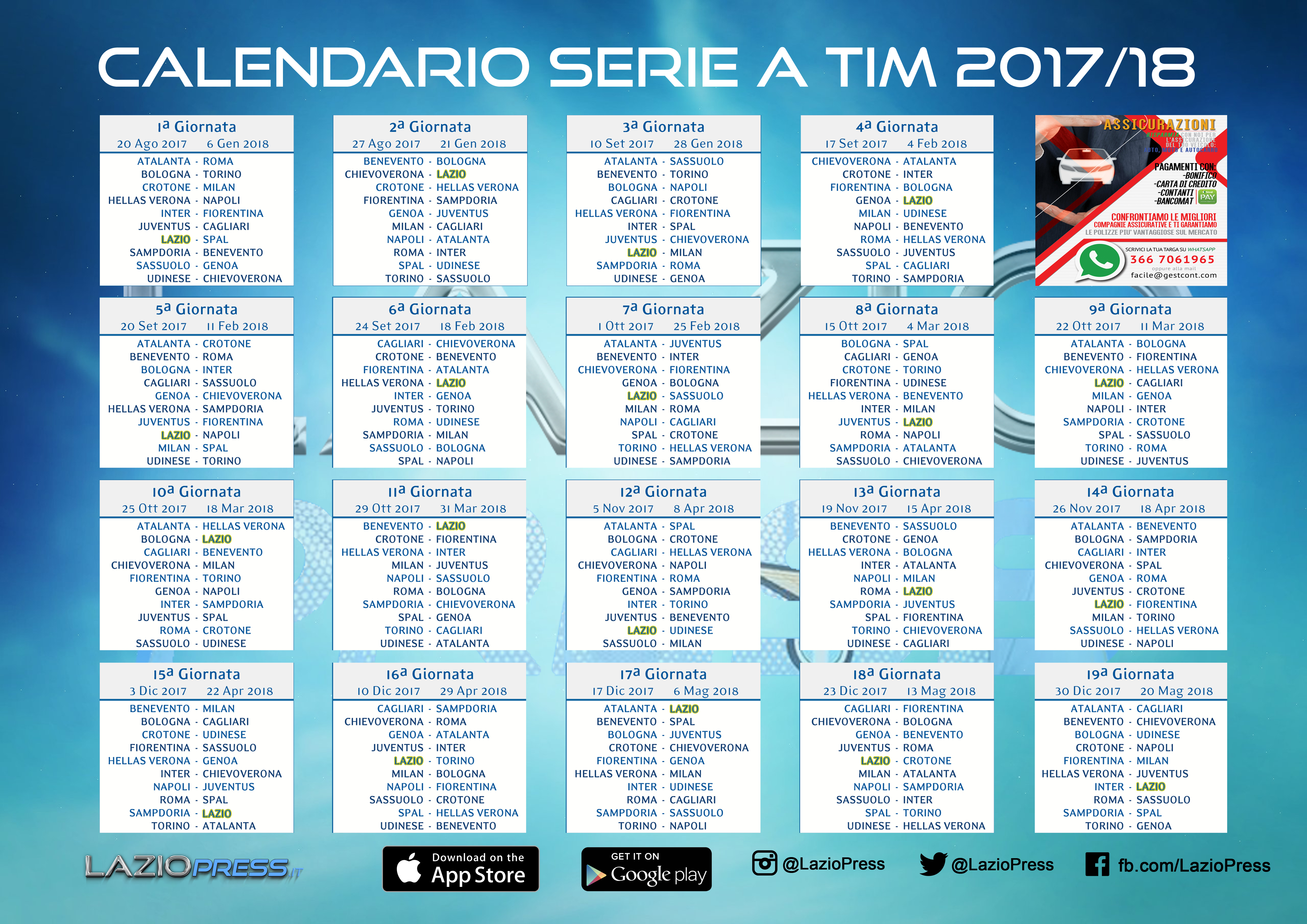 Calendario Setie A.Serie A 2017 18 Scarica Il Calendario Pdf Di Laziopress It